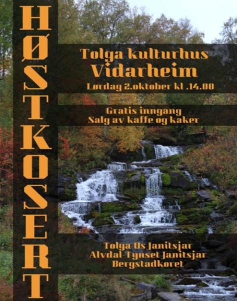 Plakat høstkonsert 2. oktober, kl. 14.00 på Vidarheim